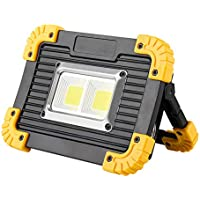 HelloDigi LED Work Lights,Portable Camping light emergency lighting USB Charging Outdoor Lights lawn lamp COB Floodlight,Waterproof LED flashlight Spotlight 20W Rechargeable Battery LED searchlight(2 Square COB LED) (No include battery )
