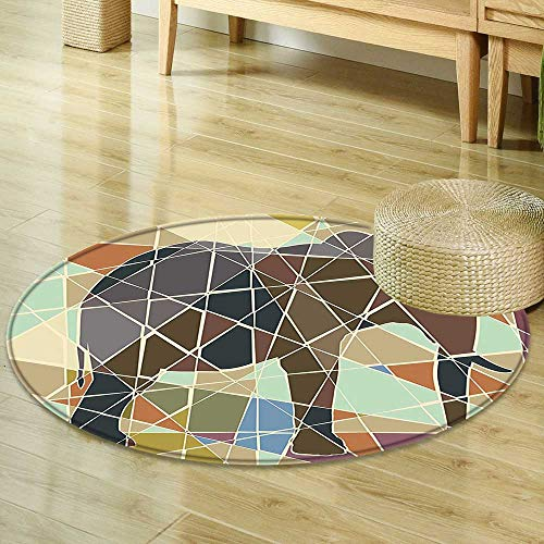 Round Area Rug Elephant Mosaic Design African Animal in Soft Colors Wildlife Nature Safari Theme Artwork Multicolor Living Dinning Room & Bedroom Rugs R-24 -
