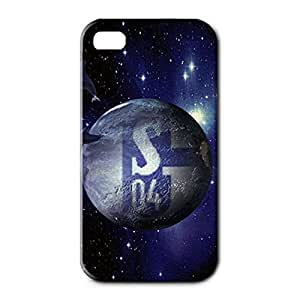 3D Customized Style Football Club With Black And Dark Blue Back Pattern Cover Case For Iphone 4 Gelsenkirchen-Schalke 04 Football Club Logo Print Design For Students