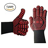 Kealux 932°F Extreme Heat Resistant Oven Gloves, BBQ Grilling Cooking Gloves, Fire Gloves For Fireplace and Fire Pit, Smoker & Kitchen Accessories-1 Pair(Black/Red dot)