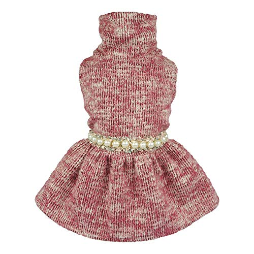 Fitwarm Turtleneck Knitted Pet Clothes for Dog Sweater Dresses Coats Cat Apparel Pink