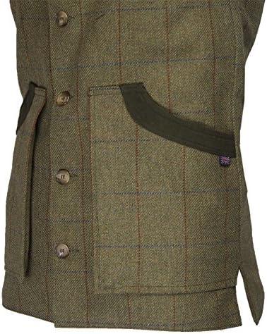 Medium Homme Tweed Gilet Olive RRP £ 59.99 Pays Tir Chasse Carreaux