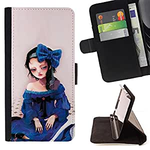 DEVIL CASE - FOR Sony Xperia Z1 L39 - Cute Sad Girl - Style PU Leather Case Wallet Flip Stand Flap Closure Cover