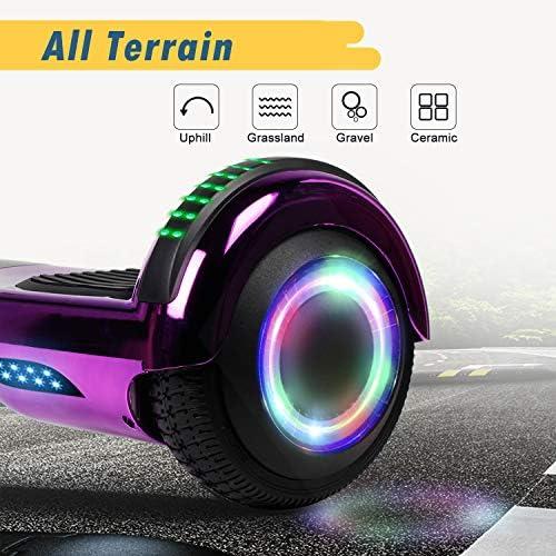 SISGAD Overboard Bluetooth, 6,5 Pouces Électrique LED Hoverboard Self Balance Scooter, 2 * 300W Smart Gyropode, Électrique Auto-Équilibrage pour Enfant et Adulte