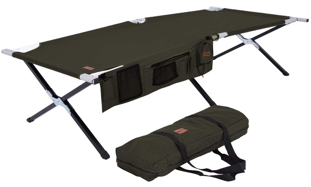 Tough Outdoors Camp Cot [XL] with Free Organizer & Storage Bag - Military Style Folding Bed for Camping, Traveling, Hunting, and Backpacking - Lightweight, Heavy-Duty & Portable Cots for Adults by Tough Outdoors