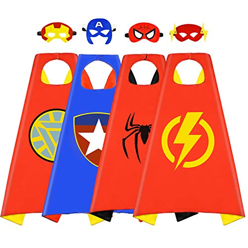 Roko Toys for 3-10 Year Old Boys, Superhero Capes for Kids 3-10 Year Old Boy Gifts Boys Cartoon Dress up Costumes Party Supplies Stocking Stuffer 4 Pack RKUSPF04]()