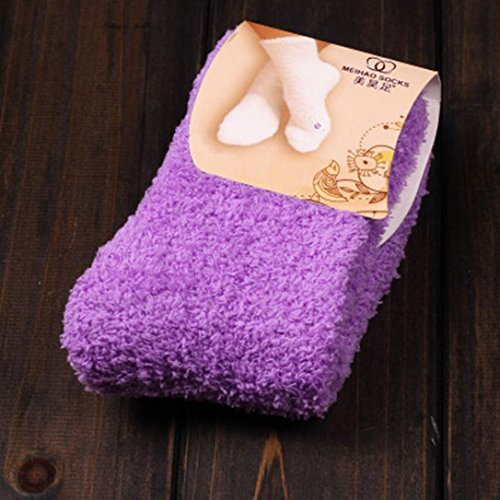 Warm Winter Fuzzy Womens Soft KingWo Home Purple Slipper Socks Casual wUqBZg4A