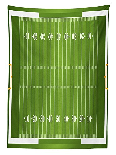 LEO BON Rectangle Tablecloth Sports Field in Green Gridiron Yard Competitive Games College Teamwork Superbowl Cotton Linen Table Cover for Kitchen Dinning Tabletop Decoration 60X120inch by LEO BON (Image #2)