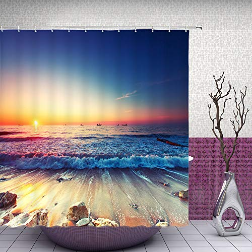 (Feierman Sunset Beach Shower Curtain Seaside Decor Ocean Wave Bathroom Curtain Accessories Polyester Fabric Bathroom Shower Curtain Set with Hooks)