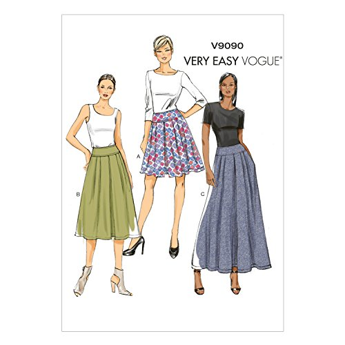 Denim And Poplin Skirt (Vogue Patterns V9090A50  Misses' Skirt Sewing Template, Size A5)