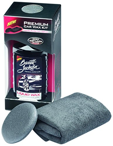 Barrett-Jackson Car Wax Kit, Car Detailing Kit with Liquid Carnauba Wax + Wax Applicator Pad + MicroFiber Towel – for Premium Car Polish and Car Care, 9961, 16 oz.