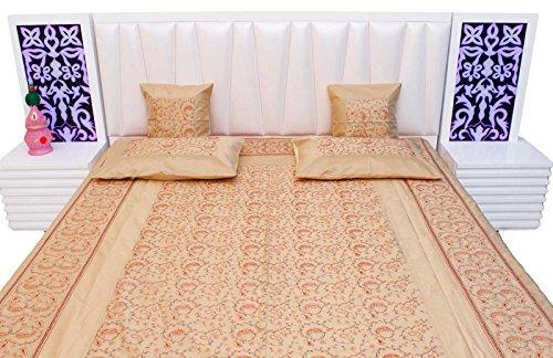 Creami Kashmiri Embroidery Design Silk Double Bed Cover Cushion Set 411 (Cushion Silk Dupion)