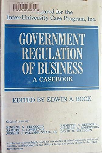 government regulation of business a casebook edwin ed bock amazoncom books