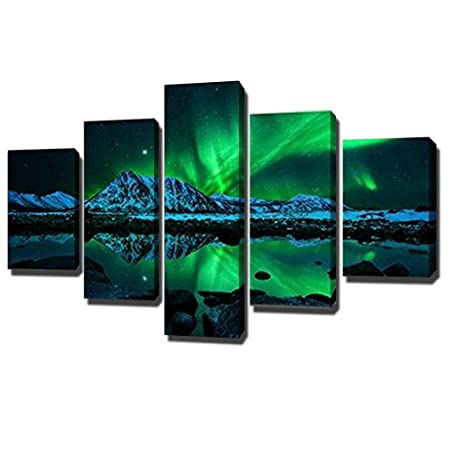 swmart 5 piece hd printed aurora borealis painting on canvas