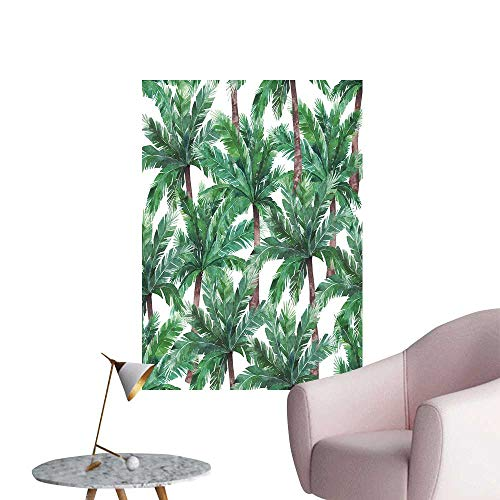 SeptSonne Wall Art Prints Green Tropical Leaves bot ical Summer on White for Living Room Ready to Stick on Wall,12