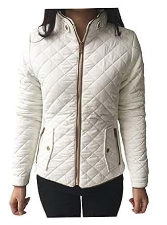 Womens Lightweight Quilted Zip Jacket/Coat White Medium at