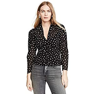 Rebecca Taylor Women's Long Sleeve Dot Vneck Silk Blouse Shirt