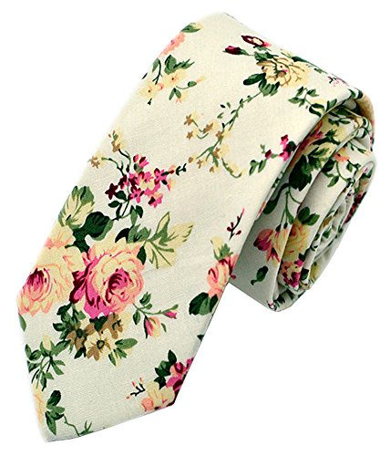 Secdtie Men's Skinny Tie Fashion Causal Cotton Floral Printed Linen Necktie MK13 -