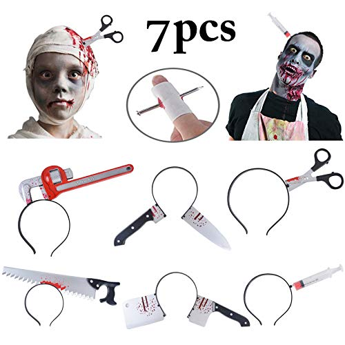 Fascigirl Halloween Headbands, 6 PCS Zombie Headbands + 1 Bonus Nail Through Finger Wound Horror Through Head Bleeding Adult Toys Props -
