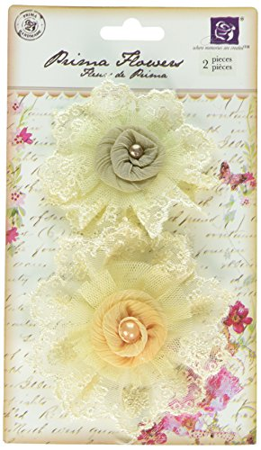 Prima 542399 Poetic Whispers Fabric Flower Embellishments, - Embellishment Flower