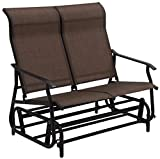 K&A Company Double Patio Glider Rocking Armchair Garden Outdoor Chair Lounge Bench Loveseat Couple Soft Beach Lover Yard Home Relax Tool Coffee