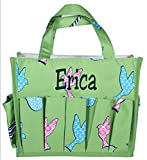 Small Fashion Organizing Tote Bag – 12 Outside Pockets – Personalization Available (Green Bird – with Embroidered Name) For Sale