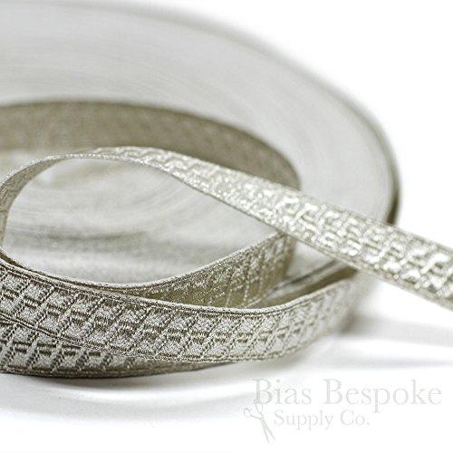 "PAX 1/2"" Pale Silver Geometric Bullion Braid Trim: 5 Yards"
