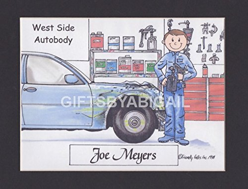 Auto Body Shop Gift Personalized Custom Cartoon Print 8x10, 9x12 Magnet or Keychain by giftsbyabigail