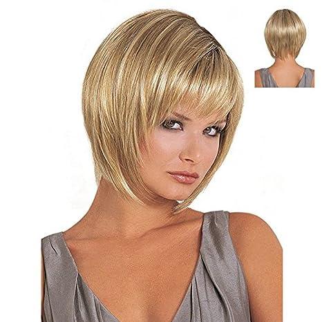Fabulosa peluca sintética para mujer, pelo corto lacio, rubia oxigenada, tan