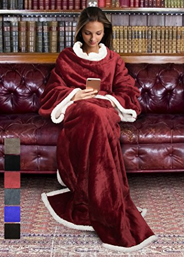 Sherpa Wearable Blanket for Adult Women and Men, Super Soft Comfy Warm Plush Throw with Sleeves TV Blanket Wrap Robe Cover for Lounge Chair Couch 72 x 55 Wine