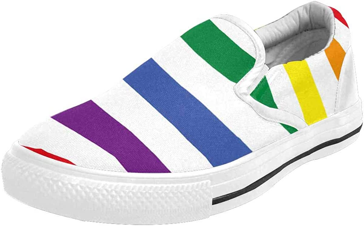 InterestPrint American Flag with LGBT Pride Colors Women's Slip-On Canvas Loafers Shoes Low Cut Sneakers