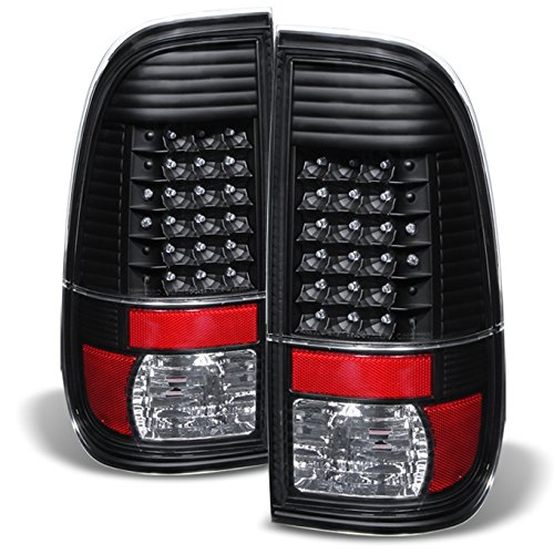 For Black 08-16 Ford F-Series Superduty Pickup Truck LED Tail Lights Brake Lamp Replacement Pair