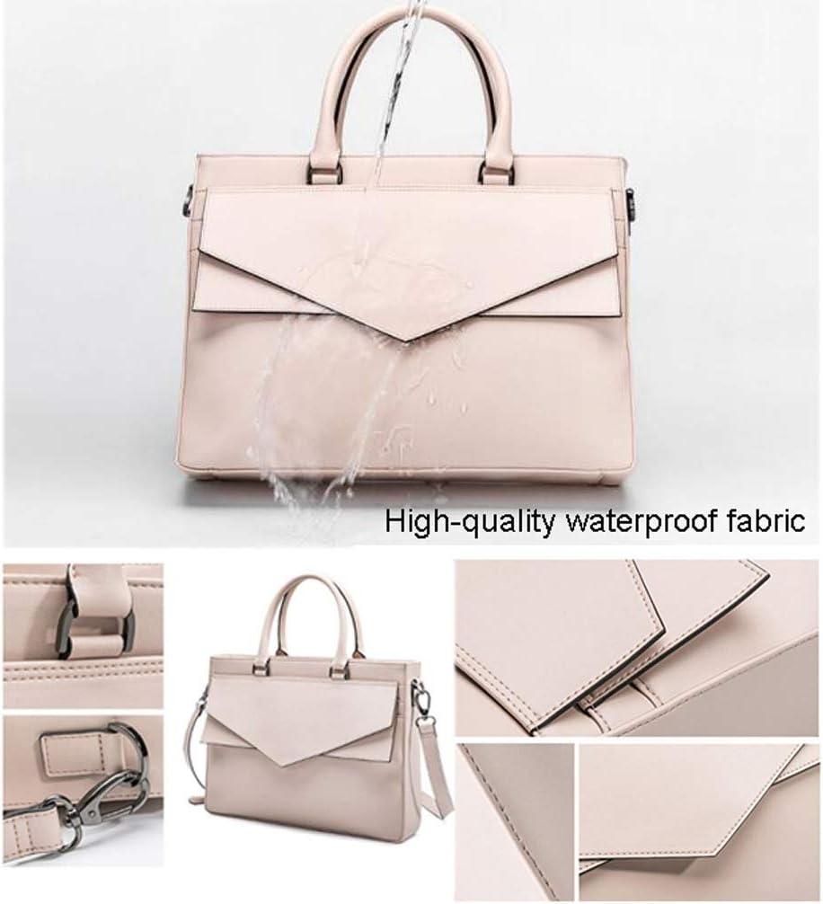 Xinxinchaoshi 13.3-14 Inch Fiber Leather Laptop Bag Elegant Ladies Handbag Shoulder Messenger Bag Waterproof Fabric Fashion Business Briefcase Color : Apricot, Size : 13.3Inch