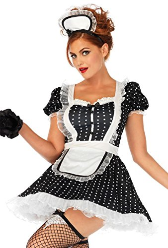 Frisky Frenchie French Maid Costume Womens Polka Dot Dress S/M M/L XL - Frenchie Costume Plus Size