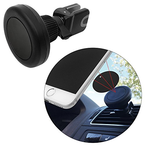 Time Impact Mag (Air Vent Magnetic Car Mount Holder Cradle Grip- Fast Snap For All Smartphones Mini Tablets Cell Phones GPS Mobile Devices- One Touch Stick On Dash Board, Safe Strong Slim- Black + 2 Metal Plates)