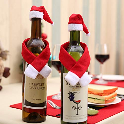 2PCS Mini Christmas Santa Claus Hat and Mini Christmas Scarf for Christmas Silverware Holders, Candy Covers, Wine Bottle ()