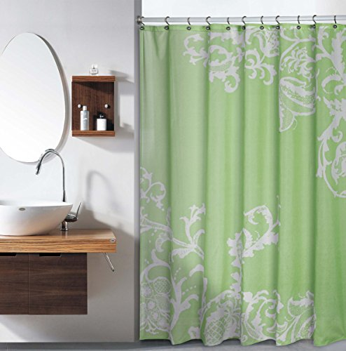 Duck River Textile Isabella Floral Fabric Shower Curtain Liner Water Resistant, 70 x 72, Sage Green ()