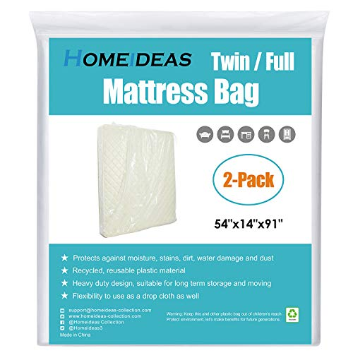 HOMEIDEAS 2-Pack Heavy Duty Mattress Bag for Moving and Storage, Mattress Moving Bags for Long Term Storage, Fits Twin/Full Size