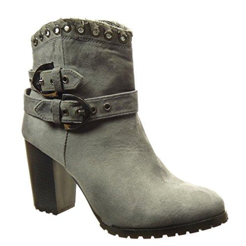 Angkorly - Chaussure Mode Bottine rangers santiags - cowboy femme perforée boucle Talon haut bloc 8.5 CM - Intérieur Fourrée - Gris