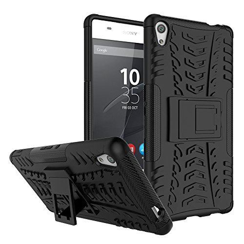 Sony Xperia XA Ultra Case, Nicelin Hard PC Material Cover and Silicone Inner Holder 2 in 1 Stand Case for Sony Xperia XA Ultra - [NOT for Xperia XA/Xperia X ] (Black)