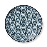 Elegant 10 Inch Round Plate Seigaiha Blue Waves