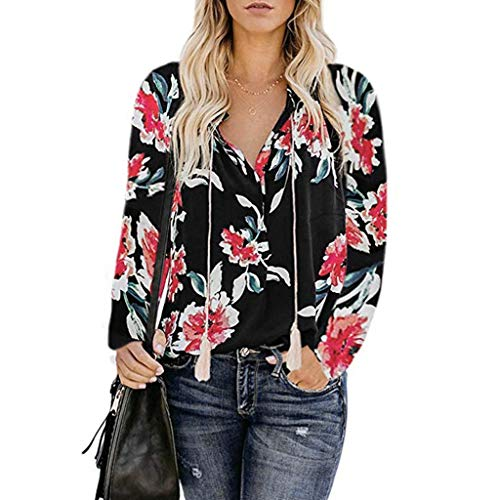 Women's Floral Print V Neck Shirts Ladies Casual Loose Long Sleeve Boho Tops Strappy Tie Front Pullover Sumeimiya