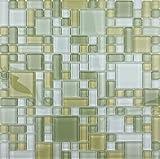 LADA Fresh Avocado (GP02) Soft Green Glass Backsplash Tiles for Kitchen Bathroom Wall Mosaic Design (1 Box / 11 Sheets)