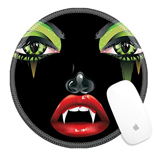 Female Vampire Makeup Tips (Luxlady Round Gaming Mousepad 37401897 Abstract female vampire face with festival eye makeup and red lips)