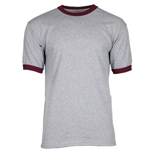 (Ouray Sportswear Ringer Tee, Athletic Heather/Maroon, Large)