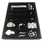 The Closet Center Jewelry Drawer Insert, Wood and Velvet Tray Organizer for Jewels, Rings, Necklaces, Bracelets, 10 Compartments, 15 3/4'' x 11 3/4''x2'' (Black)