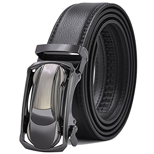 Fashion Dress Belt (Mens Ratchet Leather Belts Adjustable Automatic Buckle Fashion Dress belt)
