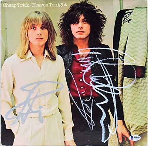 Cheap Trick (4) Authentic Signed Heaven Tonight Album Cover W/Vinyl BAS #A16284
