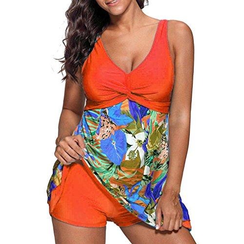 Junkai Plus Pantaloncini Tankini Size Intero Due Pezzi 5XL Moda Sexy Da Donna S Arancione Bagno Donna Costumi Elegante Stampa Costume rXAr6q