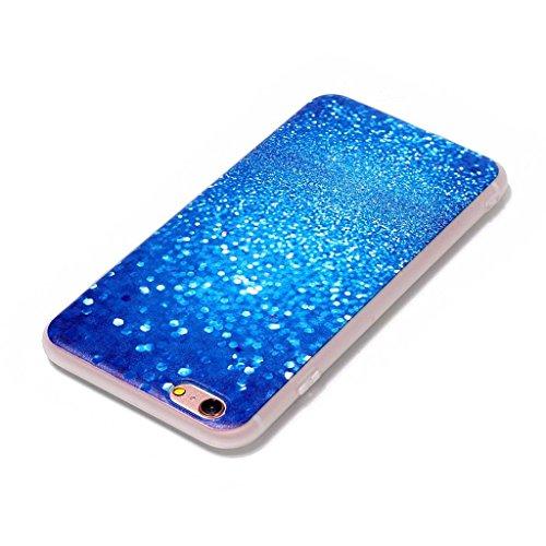 iPhone 6 / 6S Coque,3D Gravière bleue Premium Gel TPU Souple Silicone Clair Bumper Protection Housse Arrière Étui Pour Apple iPhone 6 / 6S + Deux cadeau